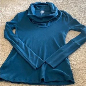 Turquoise Cowl Neck Long Sleeve Shirt